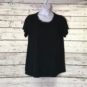 A1 Rose & Olive Top Black w/ White Polkadots 1X